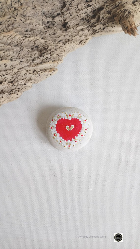 Hand Painted Pebble  * * Pebble Art * Heart Paintings * Love *  Wedding Pebbles *
