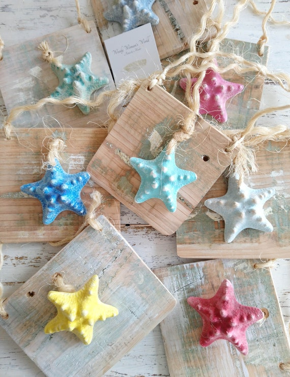 Wooden Beach Plaque * Starfish * Shell Decor * Beach Hut Decor *  Wales