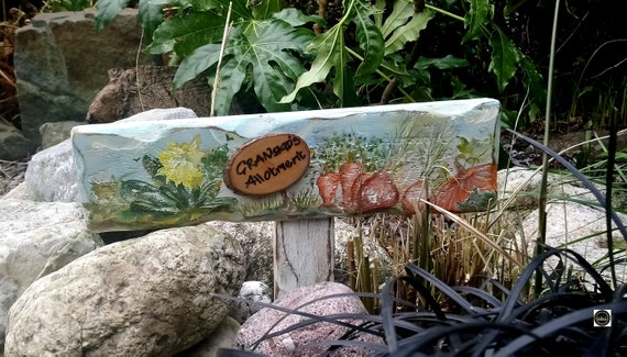 Wooden Sign * Garden Sign * WoodyWomansWorld Wales * Personalised  PLOT Number Garden Allotment Sign * Hand painted  Custom made  Stake Sign