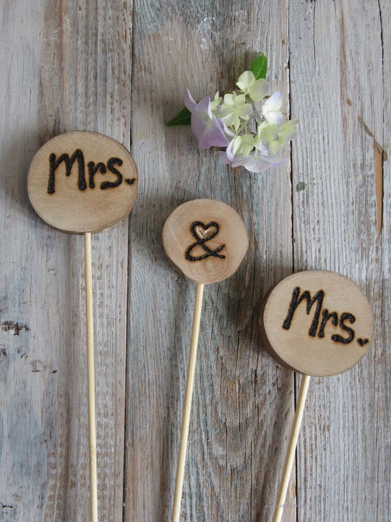 Wedding Cake Topper * Mrs & Mrs cake topper * Same sex cake toppers   * Tree Carving * Rustic Wood Slices *