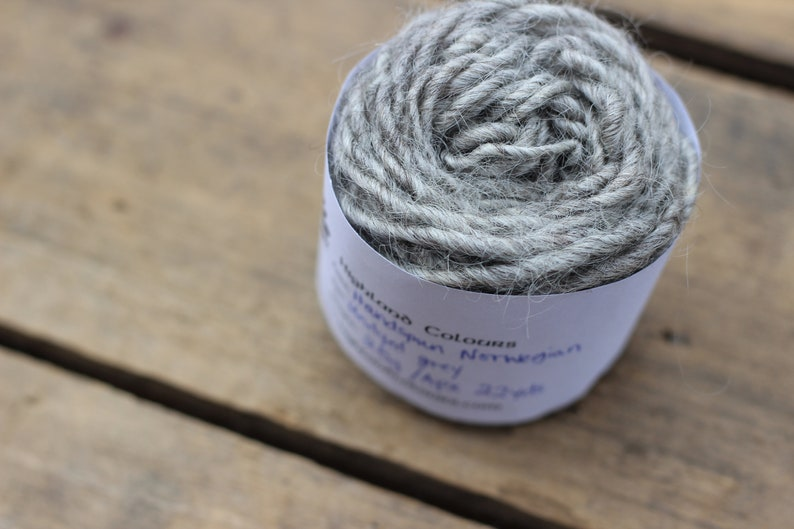Handspun tapestry weaving singles yarn 22 yards Undyed Norwegian grey wool pin loom tapestry knitting crochet Navajo weaving 25g approx