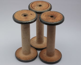"7"" metal bound North England cotton mill industrial vintage antique weaving mill bobbins, 1920's, original patina, 3.5"" diameter ends."