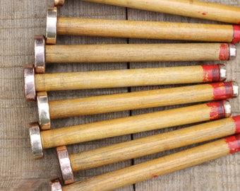 """Copper bound weaving shuttle bobbins, vintage antique home decor pieces,  9.5"""" (24cm) x 1.75"""" (4.5cm)"""
