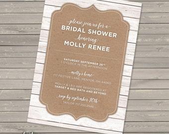 Rustic Bridal Shower Invitation DIGITAL | Couple's Shower | Wood Texture