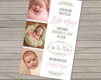 Baby Girl Birth Announcement DIGITAL