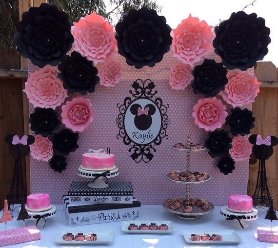 Minnie Mouse Backdrop Birthday Party Supplies Paper Flowers Etsy