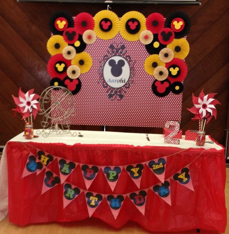 Paper Rosettes Mickey Mouse Birthday Decor Photo Booth Flower Image 0