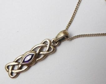 Vintage C1990s Scottish Sterling Silver & Purple CZ Celtic Pendant Necklace
