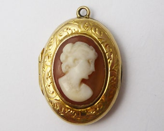 Vintage 9ct Back & Front Shell Cameo Locket Pendant Charm