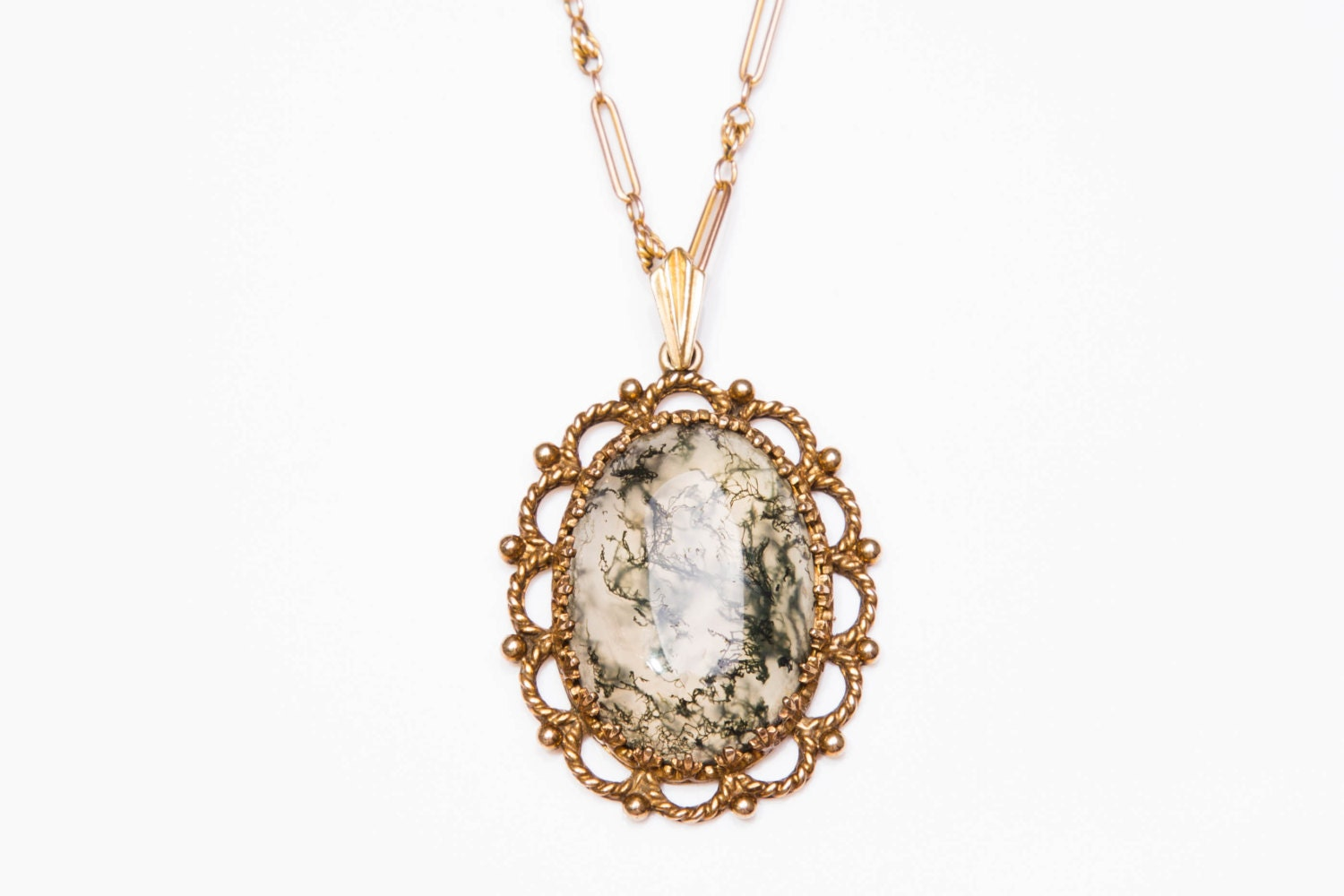 Vintage 9ct Yellow Gold & Moss Agate Pendant