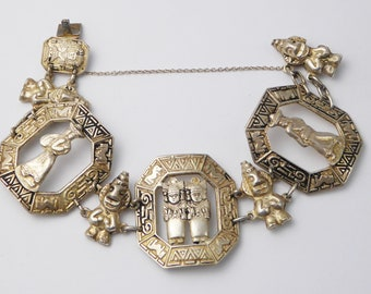 Vintage South American Peruvian Silver Panel Bracelet