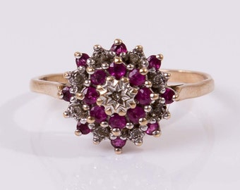 Vintage 9ct Yellow Gold, Ruby & Diamond Daisy Cluster Ring