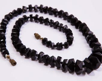 Antique Victorian Faceted Whitby Jet Necklace