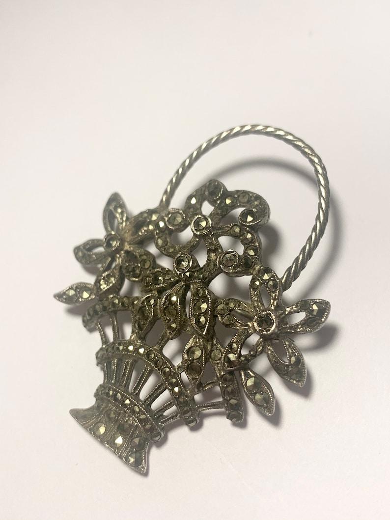 Antique Vintage Sterling Silver /& Marcasite Flower Basket Brooch