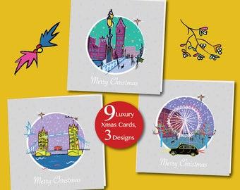 Fun Arty London Christmas Card pack (9 pack, 3 designs)