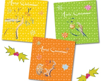 Colourful Animal Christmas Card Pack (9)