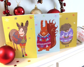 Quirky Animal Jumper Christmas Card 12 Pack