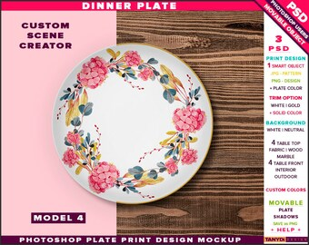 Download Free Dinner plate Photoshop mockup, Custom scene creator P4-1 PSD Template