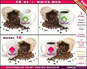 Download Free Coffee Mug 15oz | Photoshop Print Mockup M16-LR-2 | Right & Left White Mug | Steaming coffee | Sack Coffee beans | Smart object PSD Template