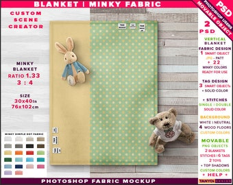 Download Free Top full 30x40 blanket minky fabric Photoshop Mockup MB-1, custom 22 minky colors PSD Template