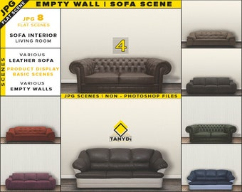 Download Free Leather Sofa Interior Blank Wall Mockup Bundle-4 | Styled Living Room Scenes | 8 JPG Room mockups | Wall Art, Decal Display - Scene Creator PSD Template