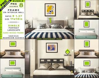 Download Free 11x14 Bedroom Interior Mockup Bundle-1   Blank Portrait Landscape Wood Frame   8 PNG Styled Scenes - Framed Wall art & Print mockups PSD Template