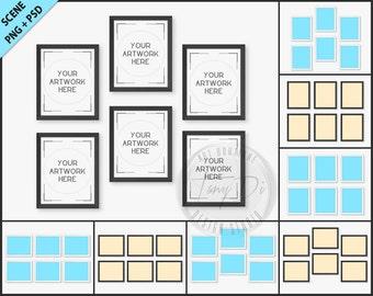 129d7f3567cd Set of 12 White   Black Frame Mockup 4 PNG scene 8x10 Empty