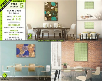 Download Free A1 A2 Large Blank Stretched Portrait Landscape Canvas on Dining room Wall Mockup Bundle-2 | 5 PNG Interior Scenes - Art Print Photo Mockup PSD Template