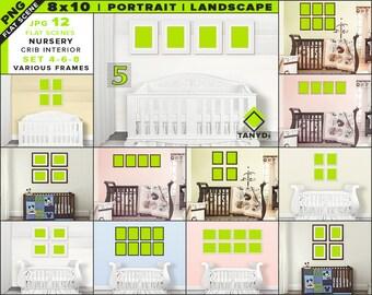 Download Free 8x10 Nursery Interior Mockup Bundle-5 | Blank Portrait Landscape Frames Set 4-6-8 | 12 PNG Styled Scenes - Framed Wall art & Print mockups PSD Template