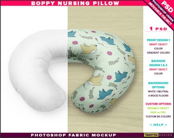 Download Free Boppy nursing pillow positioner Photoshop fabric mockup BP-M2, PNG boppy pillow on wood floor, Smart object Custom colors, boppy mock-up PSD Template
