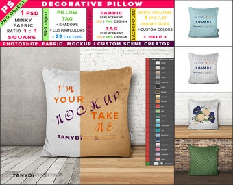 Download Free Decorative Pillow   Square   Minky Fabric   Photoshop Fabric Mockup M9-S   Cushion on wooden floor   22 ready colors   Custom scene creator PSD Template