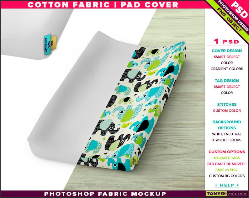abe8f7e3ab96b7 Pad on wood table Photoshop fabric mockup Pad cover mockup   Etsy
