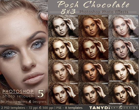 posh chocolate 8x3 photo effects photoshop template ppe 4 etsy