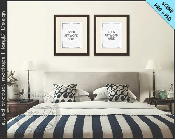 Set Of 2 Wood Frame On Bedroom Interior Wall 8x10 11x14 Etsy