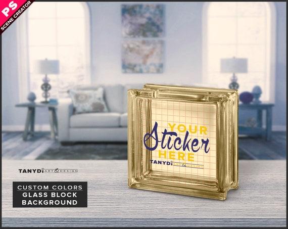 Decorative Glass Block Photoshop Sticker Mockup, Block on Living room  table, PNG Transparent & Solid glass block Scene creator GB-3