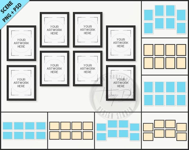 4ea0e99d3c9e Set of 8 White   Black frames Photoshop mockup 8 PNG scene