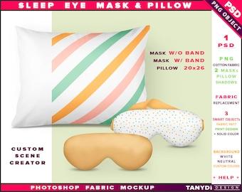 Sleep Eye Mask and Pillow | Photoshop Fabric Mockup SM-2 | Mask Band | Pillow 20x26 | Front view | Custom scene creator | Sleep aid