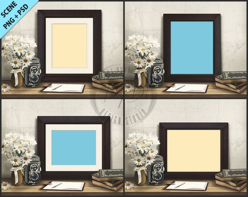 016e9e1010dd Frame on Vintage table 4 PNG scenes Empty 8x10 Frame