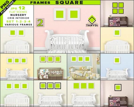 Square Frames Nursery Interior Mockup Bundle-2 Blank Wood
