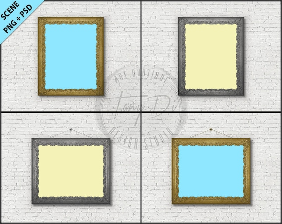 0ad09d2f3ecf Golden and silver old ornate frame 8x10 Photoshop mockup 4