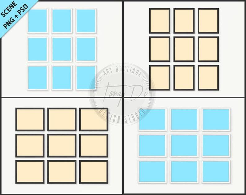 6af8ad214b17 Set of 9 White   Black Frame Photoshop Print Mockup 4 PNG