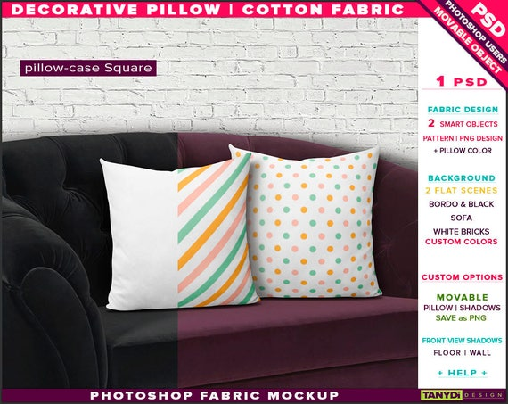 Square Decorative Pillow Cotton Fabric