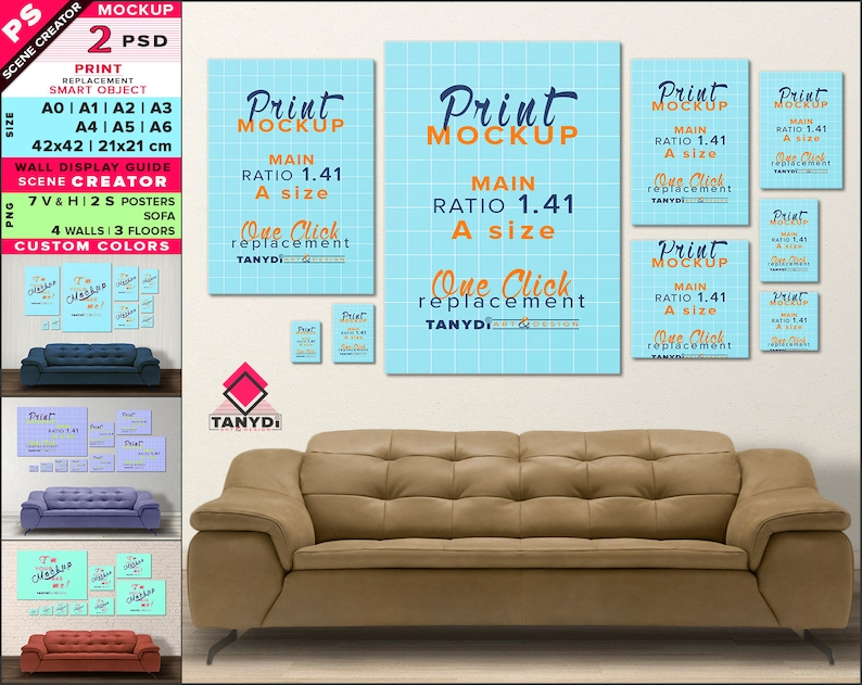 Wall display guide A0 A1 A2 A3 A4 A5 A6 21x21 42x42cm Scene creator,  Photoshop print Mockup Vertical & Horizontal posters Sofa-9-9P