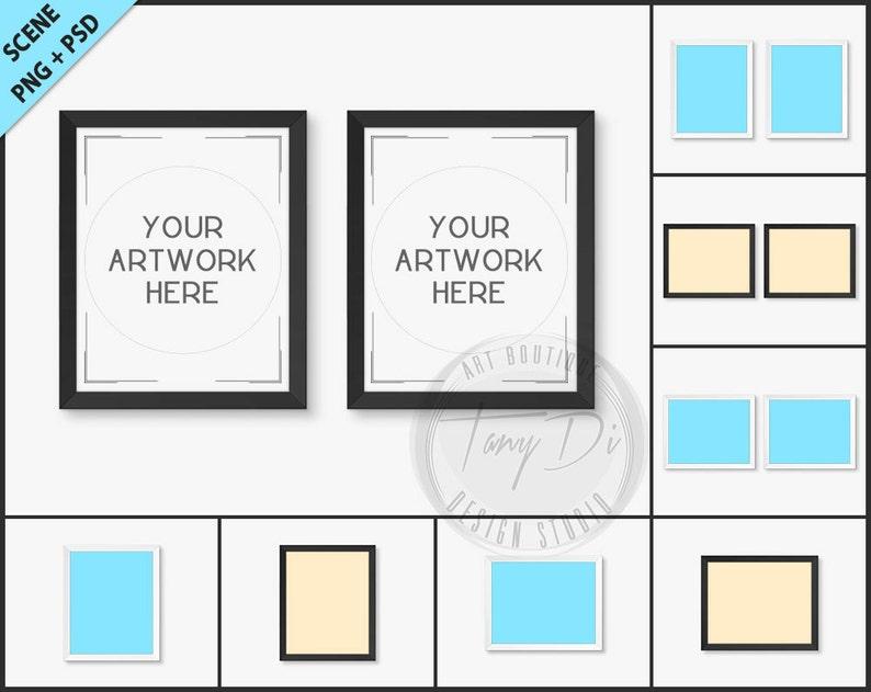 c7010f3550ff Set of 2 White   Black Frame Photoshop print Mockup 8 PNG