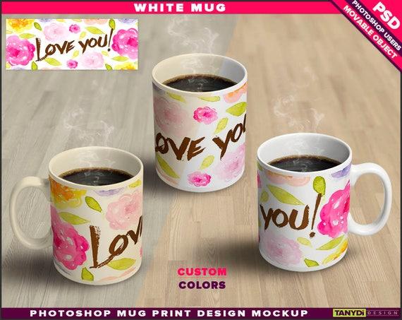 coffee mug 15oz set of 3 white mugs photoshop print mockup m 16 band design double smart object wood table custom colors