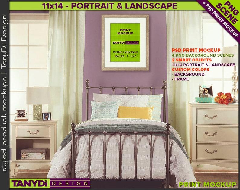 Teen Bedroom Interior Photoshop Print Mockup, 11x14 Portrait & Landscape  Wood Frame, Custom color Smart object, KR1