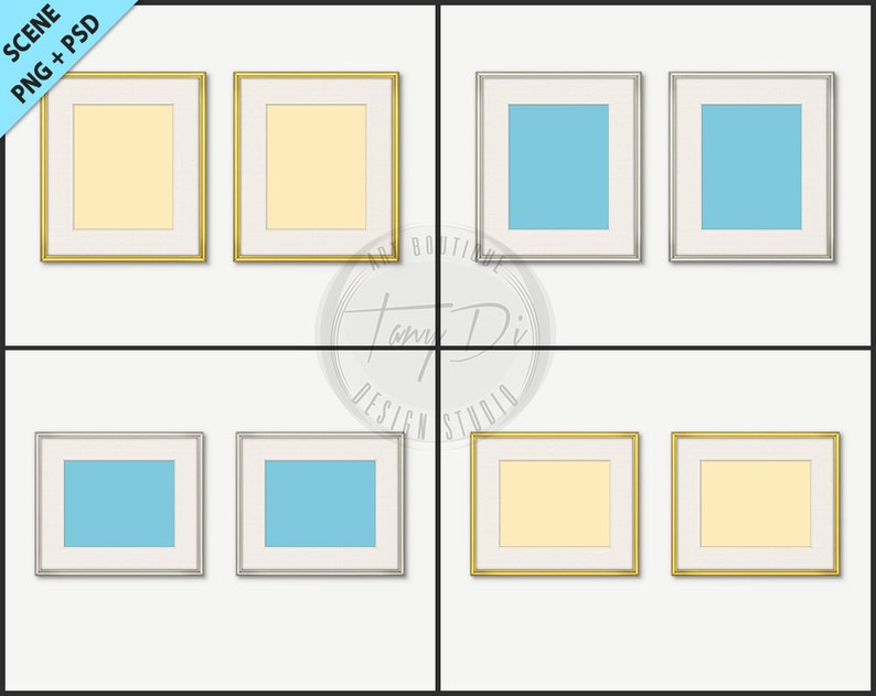 bb5fc270db31 8x10 Set of 2 Thin Gold Silver Frames Photoshop Print Mockup