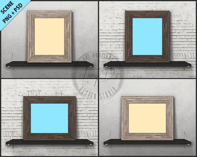 77fd092fd558 8x10 Wood Frame on Black Shelf Photoshop Print Mockup 4 PNG