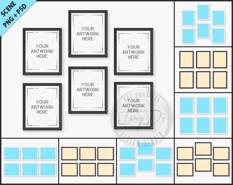 40188a341851 Set of 6 White   Black Frame Mockup 8 PNG scene 8x10 Empty
