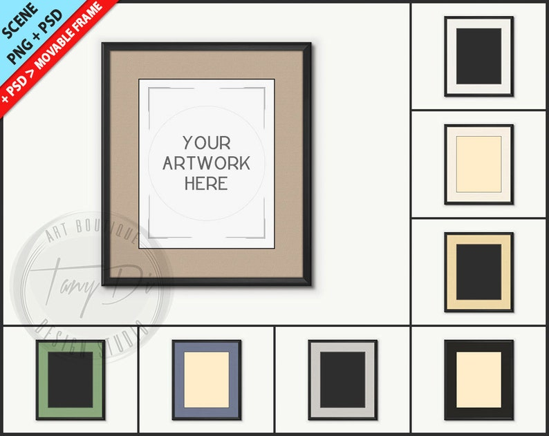 d7a4d83ed102 8x10 Black Frame Photoshop Print Mockup Custom color